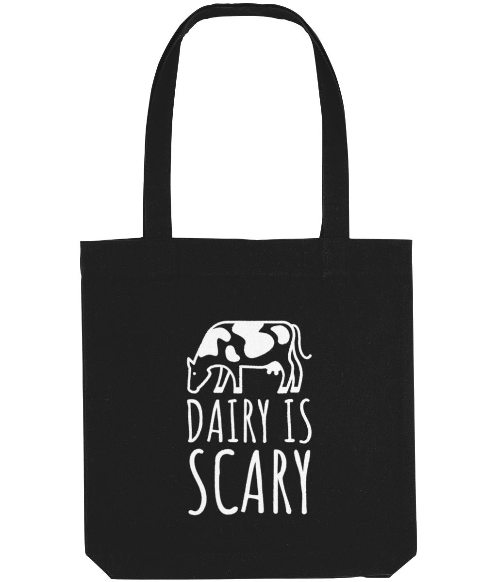 """Dairy Is Scary"" Vegan Tote Bag Clothing Vegan Original Black"