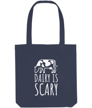 """Dairy Is Scary"" Vegan Tote Bag Clothing Vegan Original Midnight Blue"