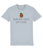 """Vegan Xmas Calories Don't Count"" Vegan Christmas T-Shirt - Heather Ice Blue"