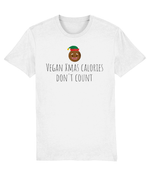 """Vegan Xmas Calories Don't Count"" Vegan Christmas T-Shirt - White"