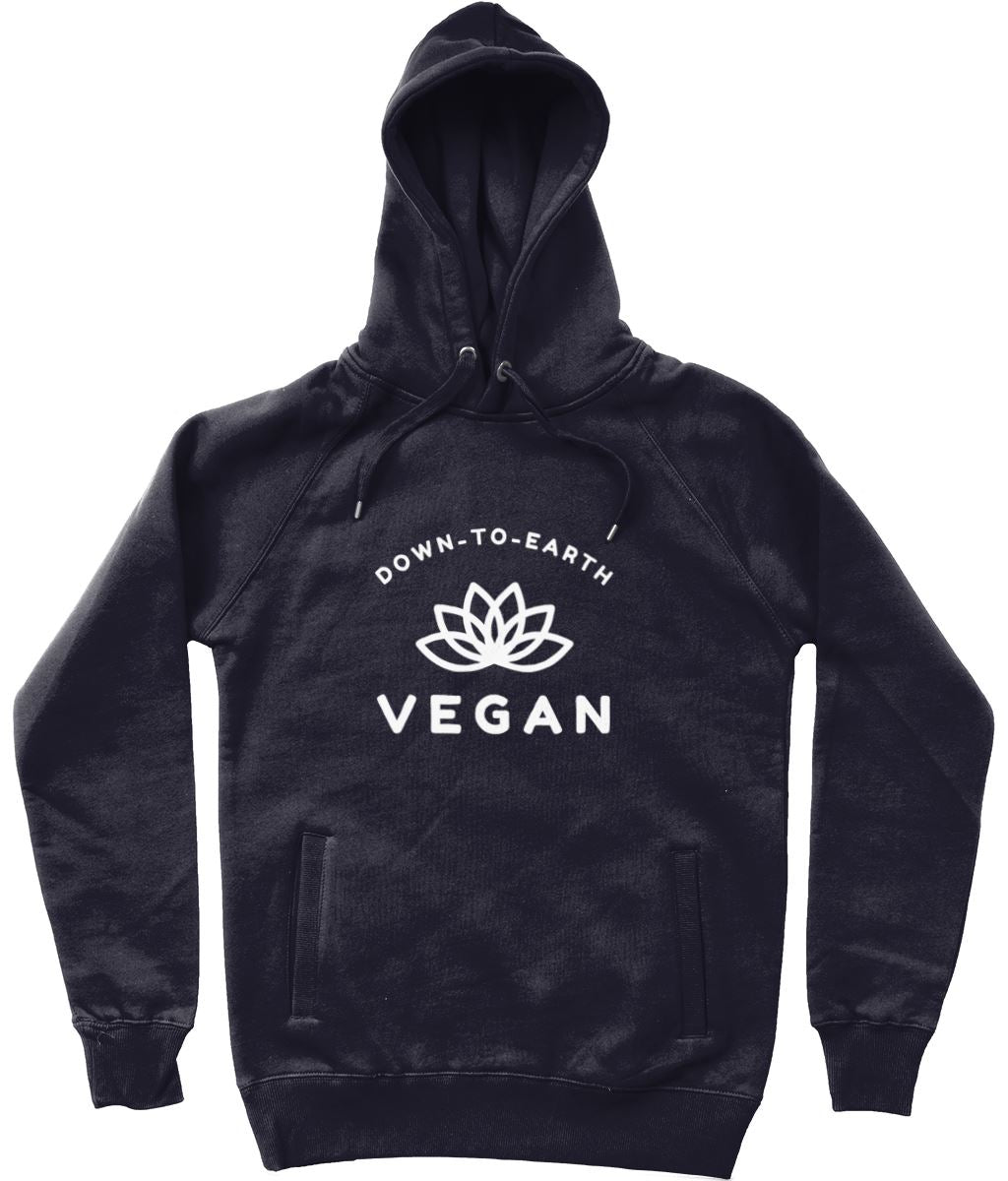 """Down-To-Earth Vegan"" Those Vegan Guys Hoodie (Unisex) Clothing Vegan Original Navy X-Small"