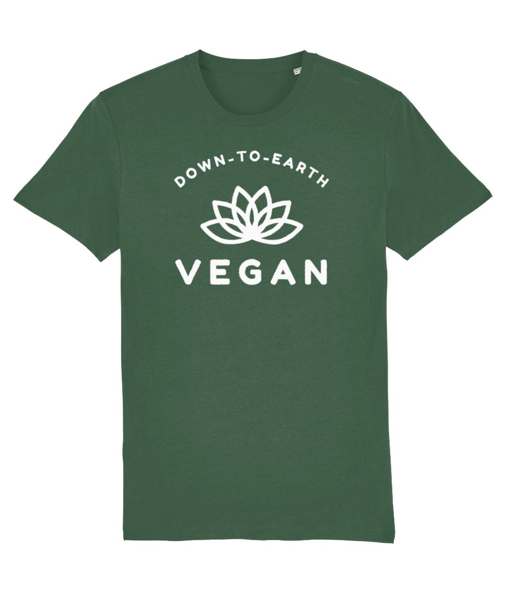 """Down-To-Earth Vegan"" - Those Vegan Guys T-Shirt (Unisex) - Dark Colours Clothing Vegan Original Bottle Green X-Small"