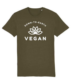"""Down-To-Earth Vegan"" - Those Vegan Guys T-Shirt (Unisex) - Dark Colours Clothing Vegan Original British Khaki X-Small"
