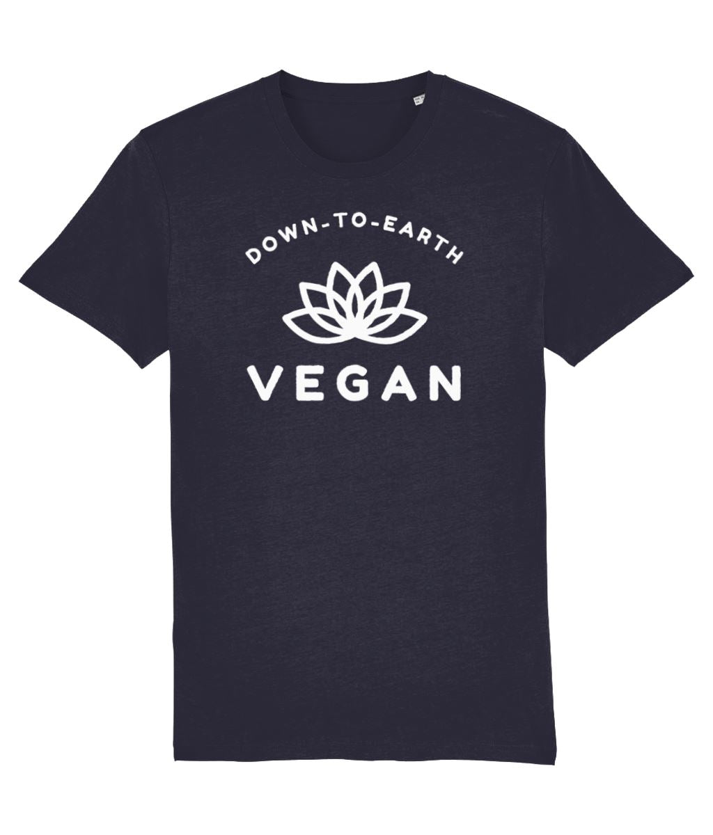 """Down-To-Earth Vegan"" - Those Vegan Guys T-Shirt (Unisex) - Dark Colours Clothing Vegan Original French Navy XX-Small"