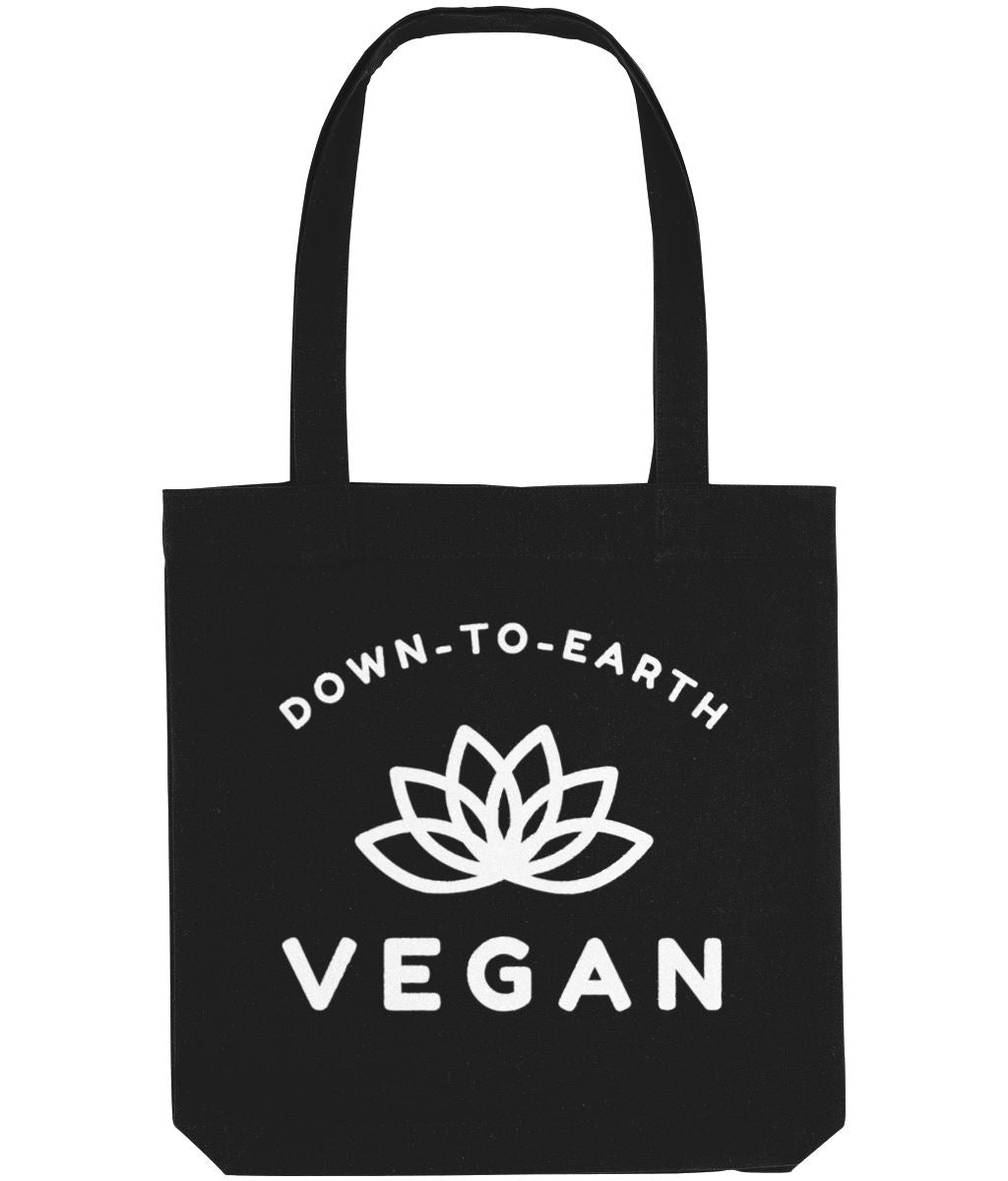 """Down-To-Earth Vegan"" - Those Vegan Guys Tote Bag - Dark Colours Clothing Vegan Original Black"