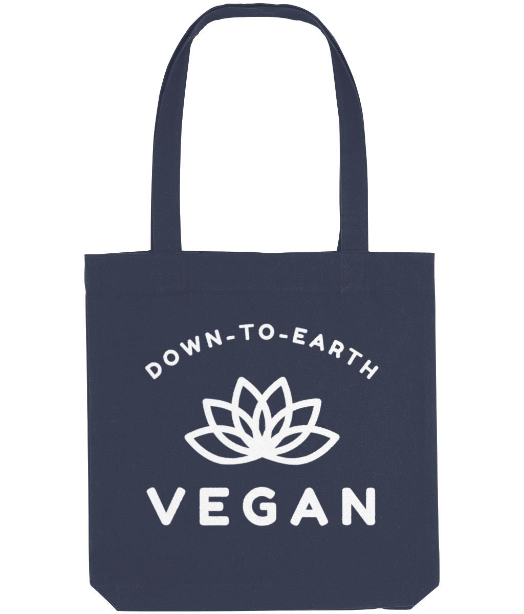 """Down-To-Earth Vegan"" - Those Vegan Guys Tote Bag - Dark Colours Clothing Vegan Original Midnight Blue"