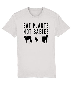 """Eat Plants, Not Babies"" Vegan T-Shirt - 100% Organic Cotton (Unisex) Clothing Vegan Original Cream Heather Grey XX-Small"