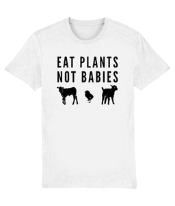 """Eat Plants, Not Babies"" Vegan T-Shirt - 100% Organic Cotton (Unisex) Clothing Vegan Original White XX-Small"