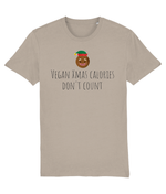 """Vegan Xmas Calories Don't Count"" Vegan Christmas T-Shirt - Desert Dust"