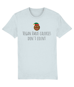 """Vegan Xmas Calories Don't Count"" Vegan Christmas T-Shirt - Baby Blue"