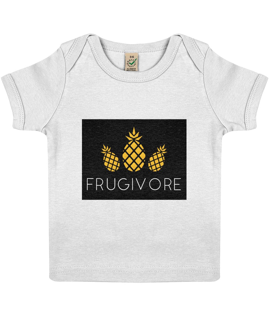 """Frugivore"" Baby Lap Vegan T-Shirt Clothing Vegan Original 3-6 months White"