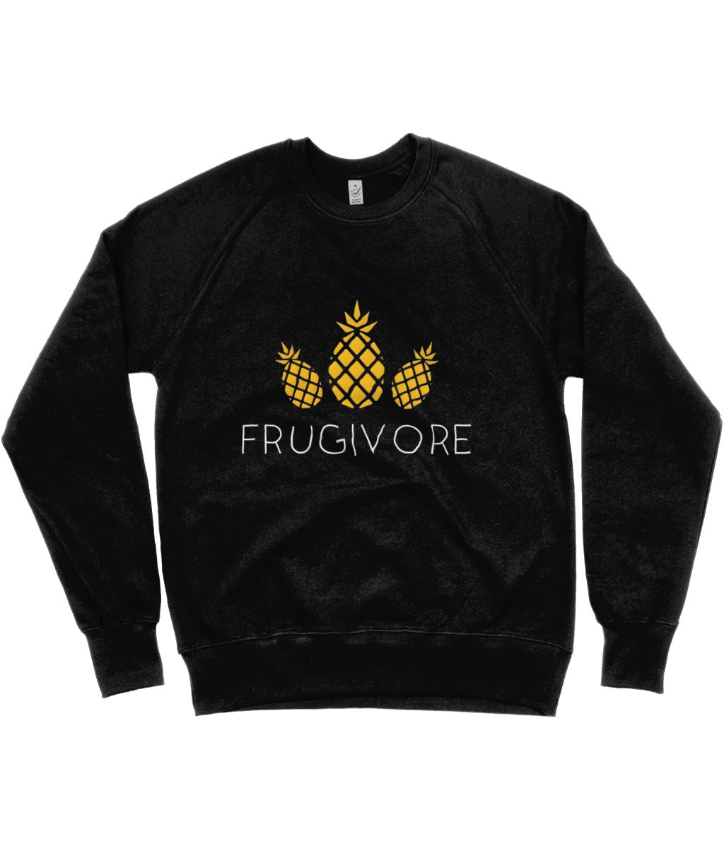 """Frugivore"" Vegan Sweatshirt - 100% Organic Cotton (Unisex) Clothing Vegan Original Black Small"