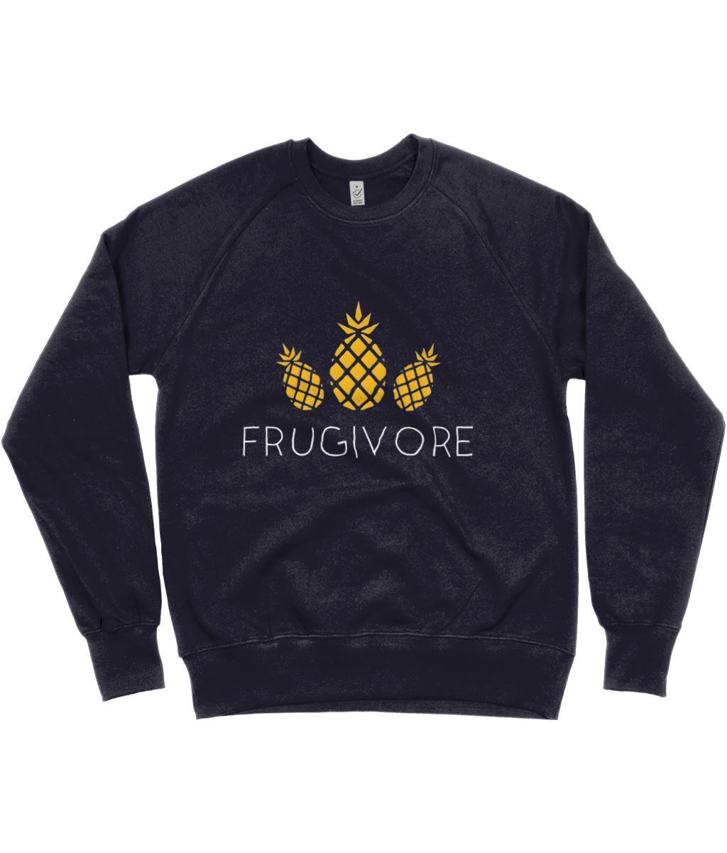 """Frugivore"" Vegan Sweatshirt - 100% Organic Cotton (Unisex) Clothing Vegan Original Navy Small"