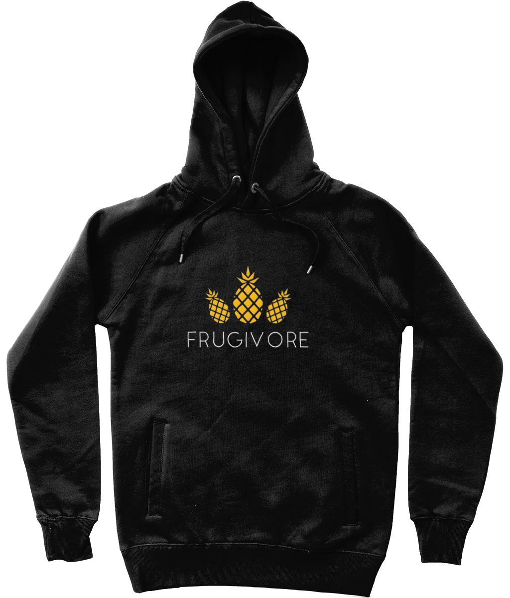 """Frugivore"" Vegan Hoodie - 100% Organic Cotton (Unisex) Clothing Vegan Original Black X-Small"