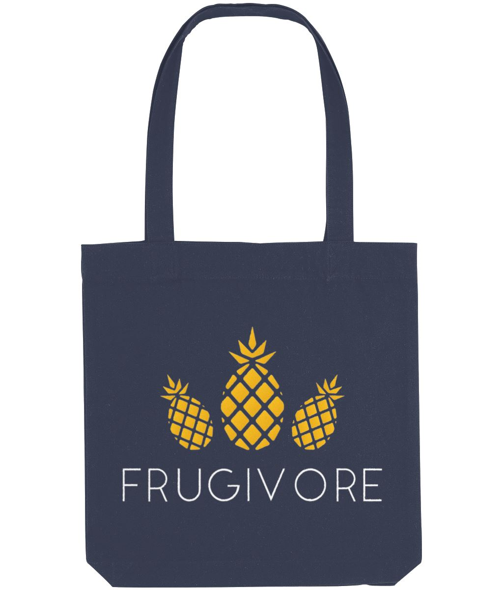 """Frugivore"" Vegan Tote Bag Clothing Vegan Original Midnight Blue"