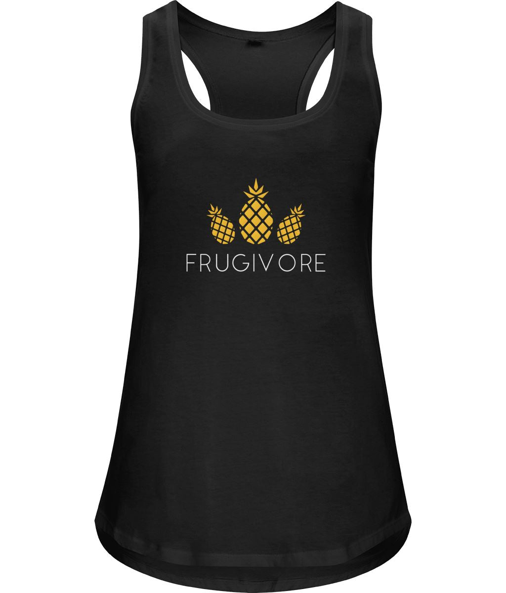 """Frugivore"" Women's Vegan Racerback Vest Clothing Vegan Original Small Black"