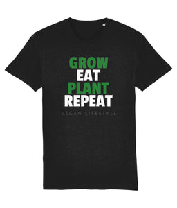 """Grow, Eat, Plant, Repeat"" Vegan T-Shirt - 100% Organic Cotton - Black (Unisex) Clothing Vegan Original Black XX-Small"