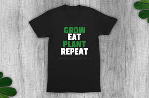 """Grow, Eat, Plant, Repeat"" Vegan T-Shirt - 100% Organic Cotton - Black (Unisex) Clothing Vegan Original"