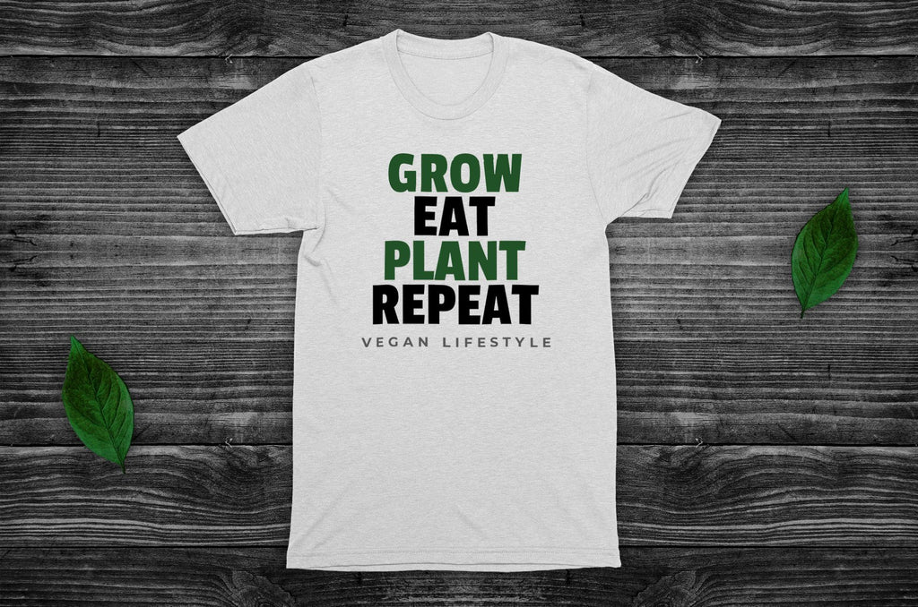 """Grow, Eat, Plant, Repeat"" Vegan T-Shirt - 100% Organic Cotton (Unisex) Clothing Vegan Original"