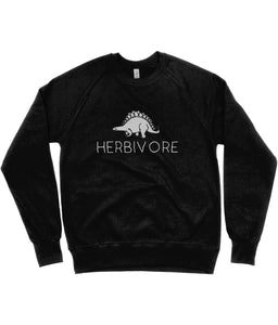 """Herbivore"" Stegosaurus Vegan Sweatshirt - 100% Organic Cotton (Unisex) Clothing Vegan Original Black Small"