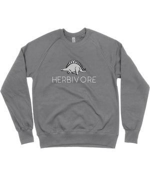 """Herbivore"" Stegosaurus Vegan Sweatshirt - 100% Organic Cotton (Unisex) Clothing Vegan Original Dark Heather Small"