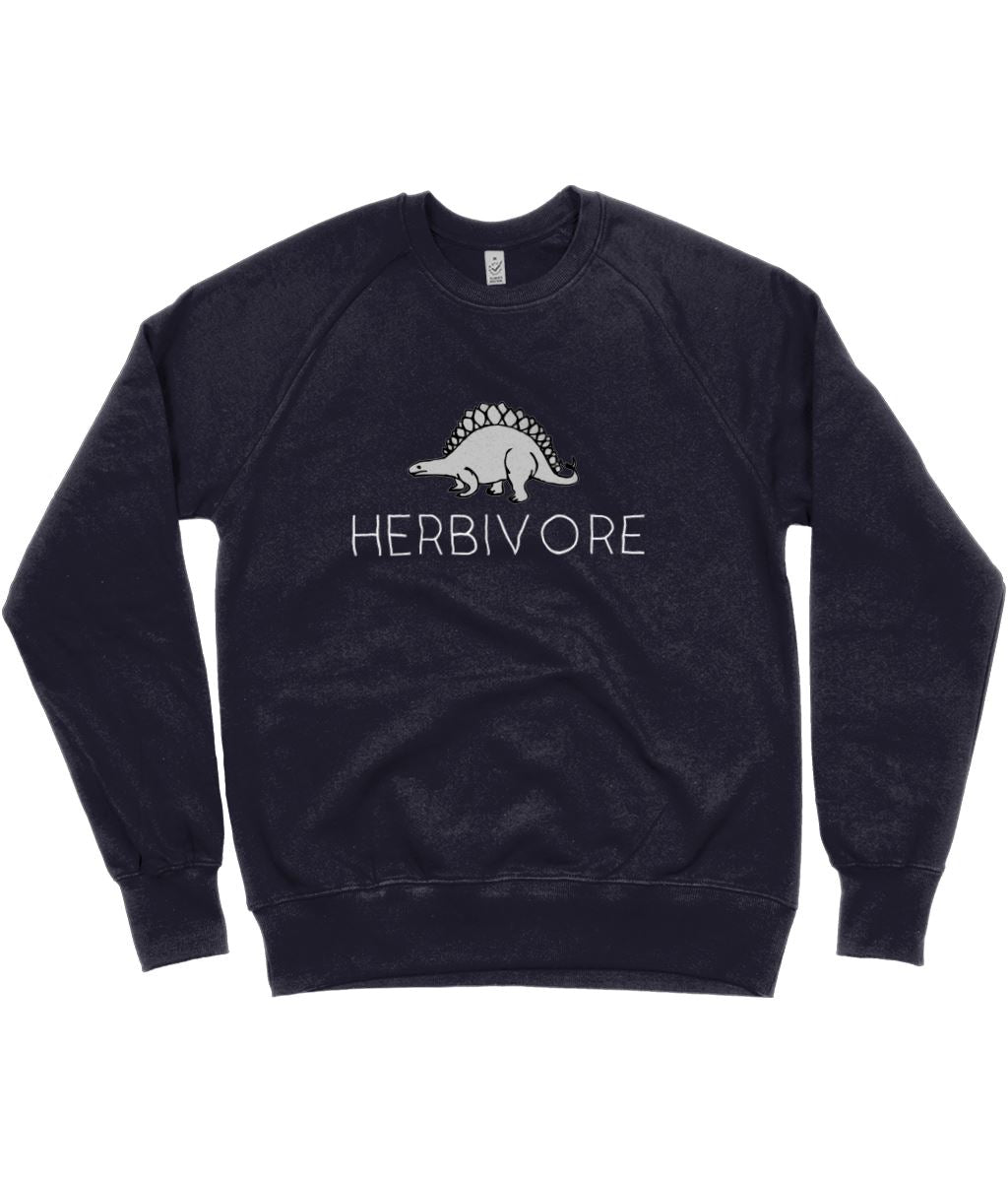 """Herbivore"" Stegosaurus Vegan Sweatshirt - 100% Organic Cotton (Unisex) Clothing Vegan Original Navy Small"