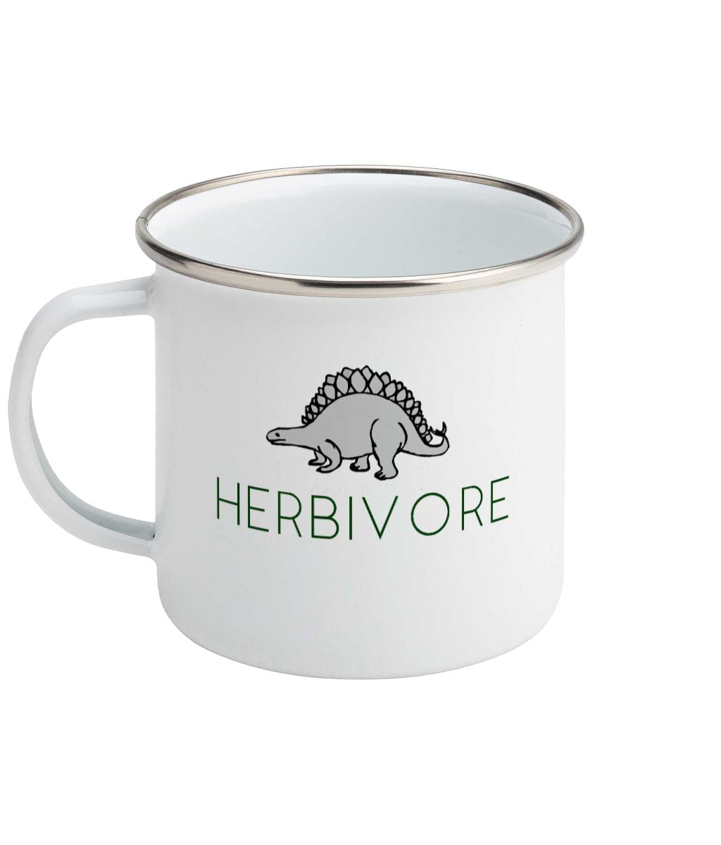 """Herbivore"" Stegosaurus Vegan Enamel Mug Suggested Products Vegan Original Enamel White"