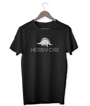"""Herbivore"" Stegosaurus Vegan T-Shirt - 100% Organic Cotton - Dark (Unisex) Clothing Vegan Original"