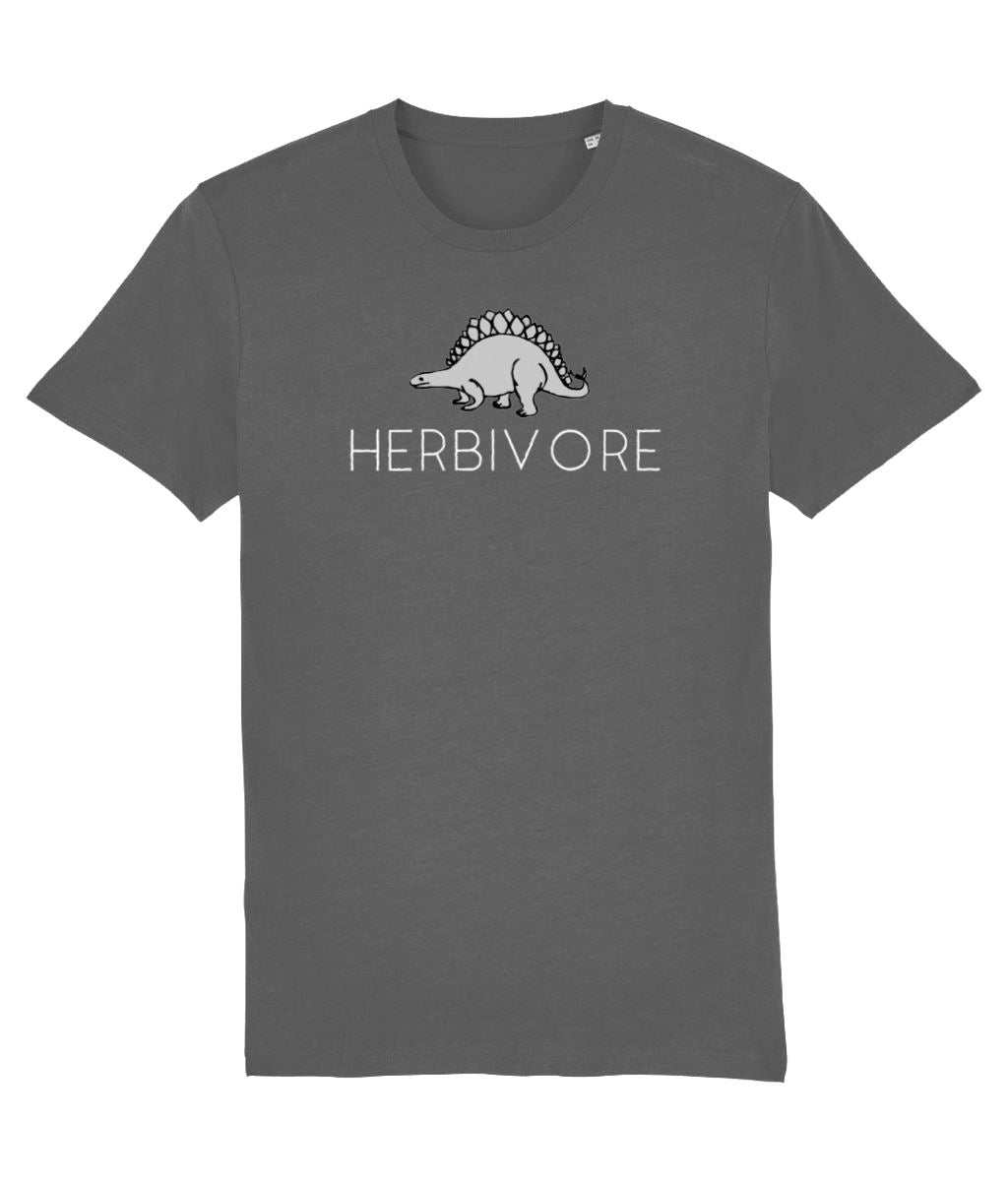 """Herbivore"" Stegosaurus Vegan T-Shirt - 100% Organic Cotton - Dark (Unisex) Clothing Vegan Original Anthracite XX-Small"