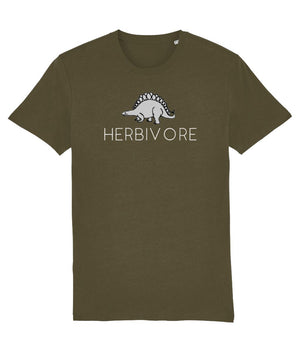 """Herbivore"" Stegosaurus Vegan T-Shirt - 100% Organic Cotton - Dark (Unisex) Clothing Vegan Original British Khaki X-Small"