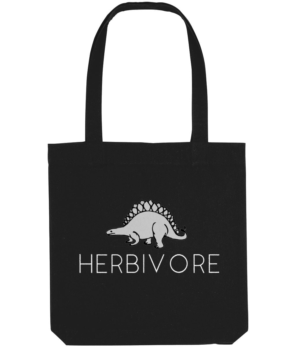 """Herbivore"" Stegosaurus Vegan Tote Bag Accessories & Homeware Vegan Original Black"