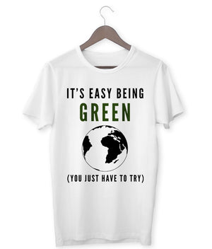 """It's Easy Being Green"" Vegan T-Shirt - 100% Organic Cotton (Unisex) Clothing Vegan Original"