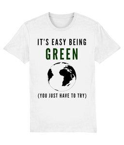 """It's Easy Being Green"" Vegan T-Shirt - 100% Organic Cotton (Unisex) Clothing Vegan Original White XX-Small"