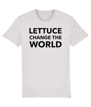 """Lettuce Change the World"" Vegan T-Shirt - 100% Organic Cotton (Unisex) Clothing Vegan Original Cream Heather Grey XX-Small"