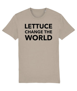 """Lettuce Change the World"" Vegan T-Shirt - 100% Organic Cotton (Unisex) Clothing Vegan Original Desert Dust X-Small"