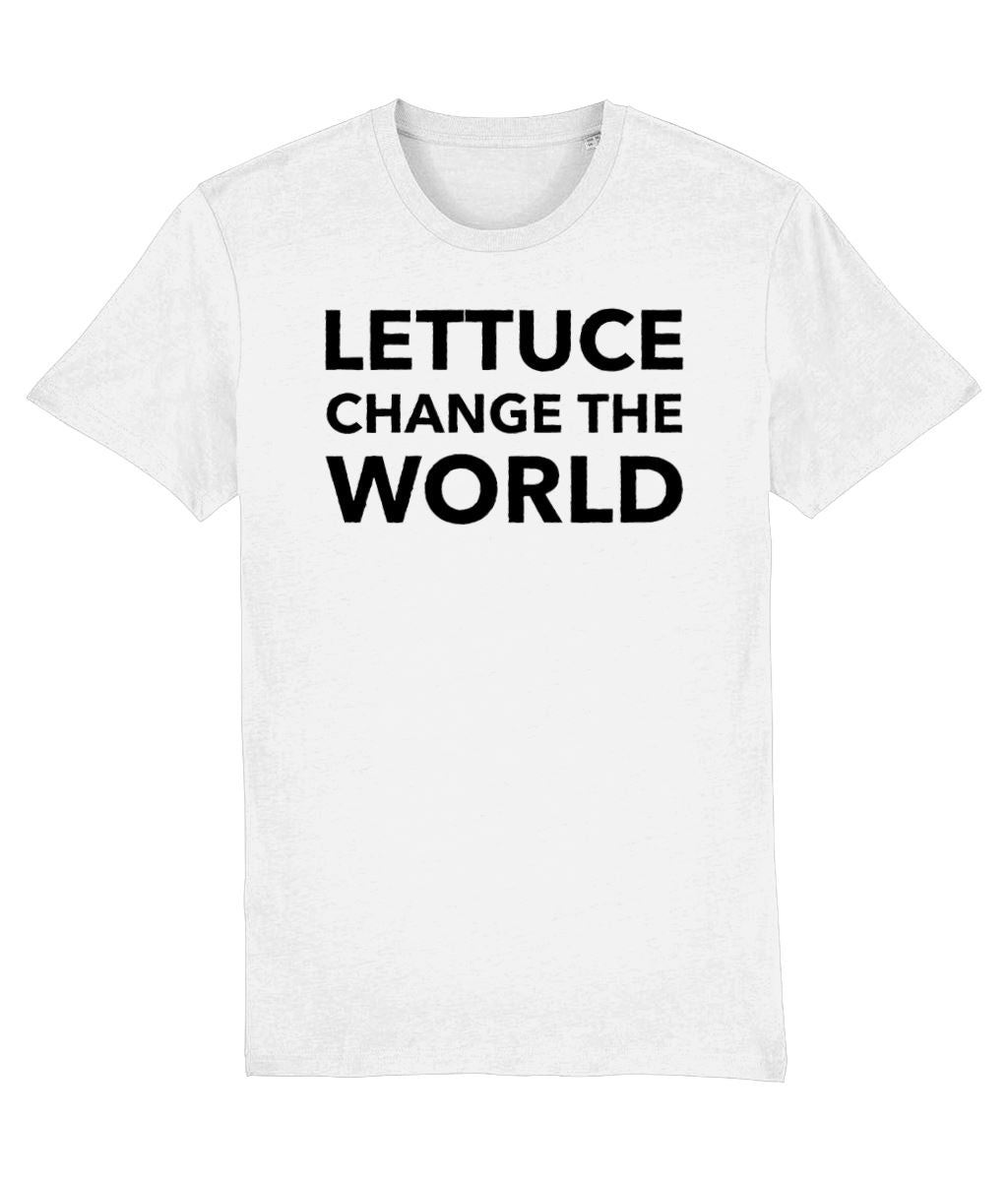 """Lettuce Change the World"" Vegan T-Shirt - 100% Organic Cotton (Unisex) Clothing Vegan Original White XX-Small"