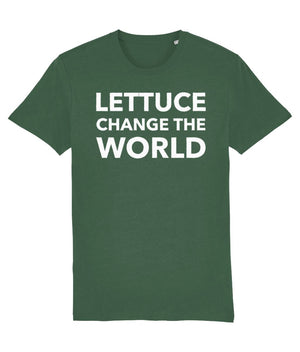"""Lettuce Change the World"" Vegan T-Shirt - Black (Unisex) Clothing Vegan Original Bottle Green X-Small"