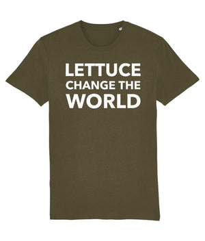 """Lettuce Change the World"" Vegan T-Shirt - Black (Unisex) Clothing Vegan Original British Khaki X-Small"