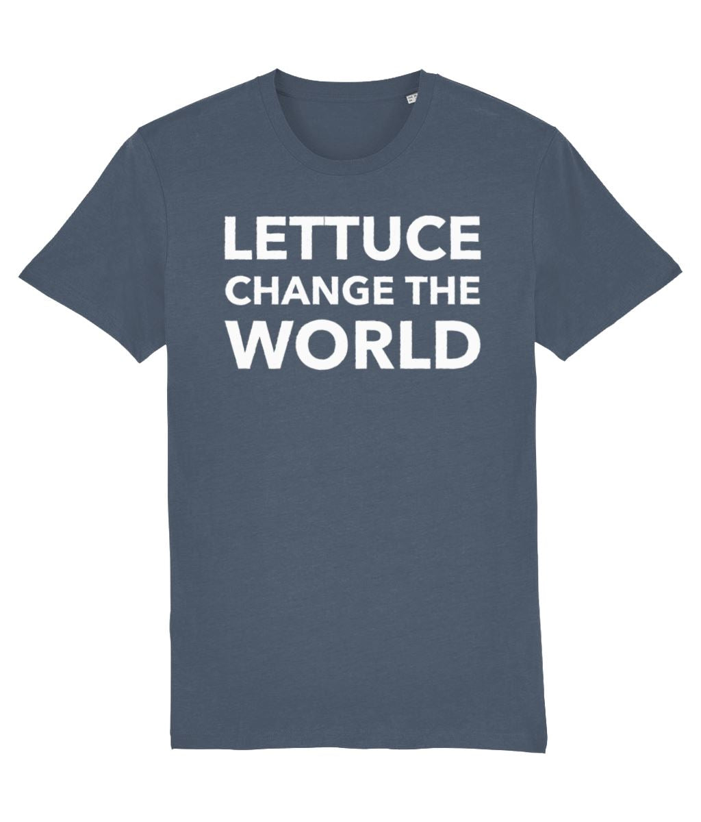 """Lettuce Change the World"" Vegan T-Shirt - Black (Unisex) Clothing Vegan Original Stargazer X-Small"