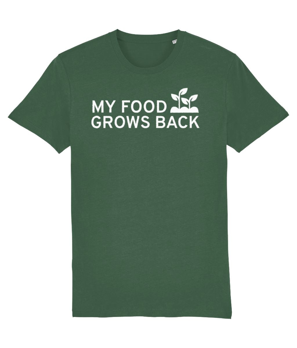 """My Food Grows Back"" Vegan T-Shirt - 100% Organic Cotton (Unisex) - Dark Clothing Vegan Original Bottle Green X-Small"