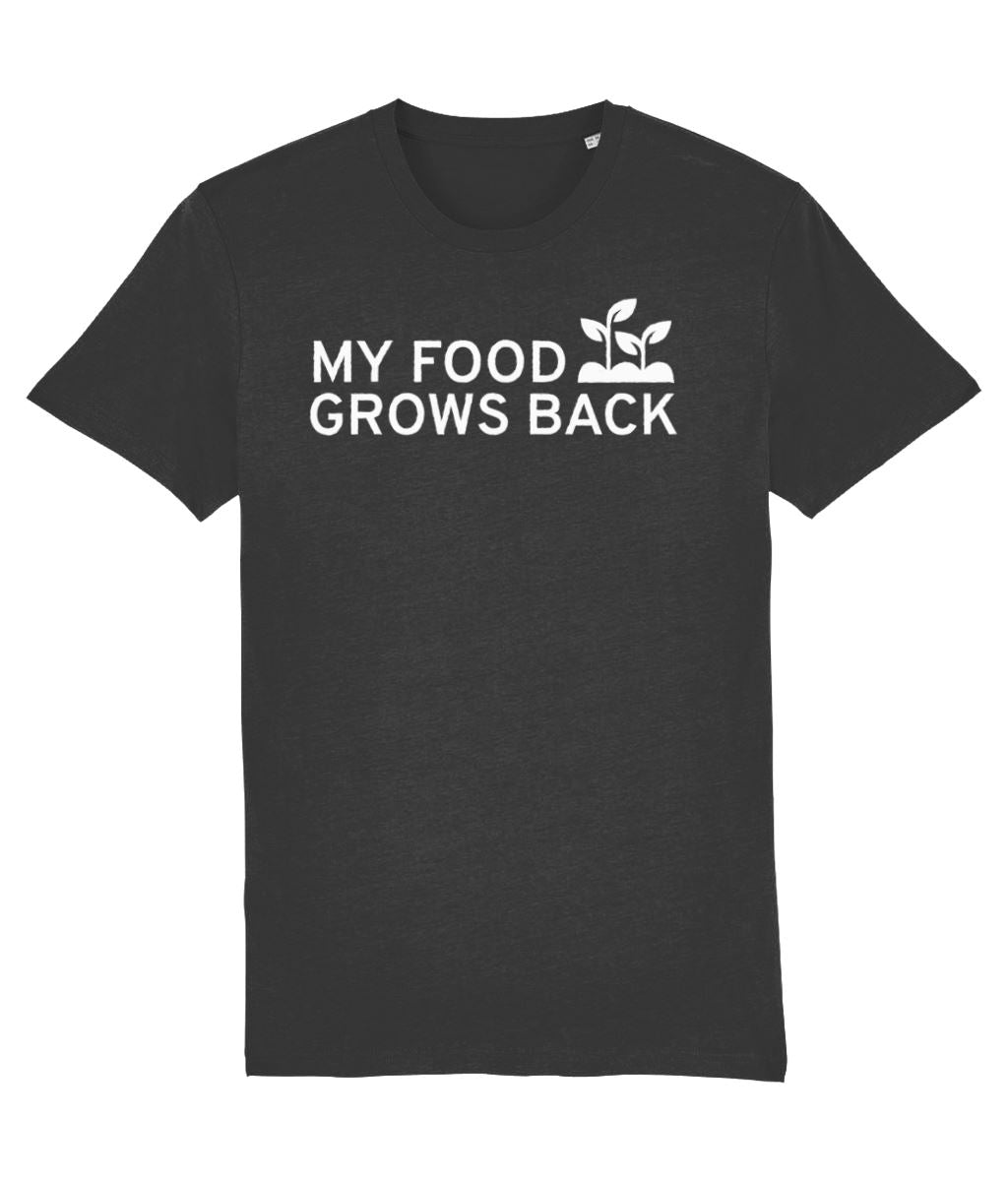 """My Food Grows Back"" Vegan T-Shirt - 100% Organic Cotton (Unisex) - Dark Clothing Vegan Original Dark Heather Grey XX-Small"