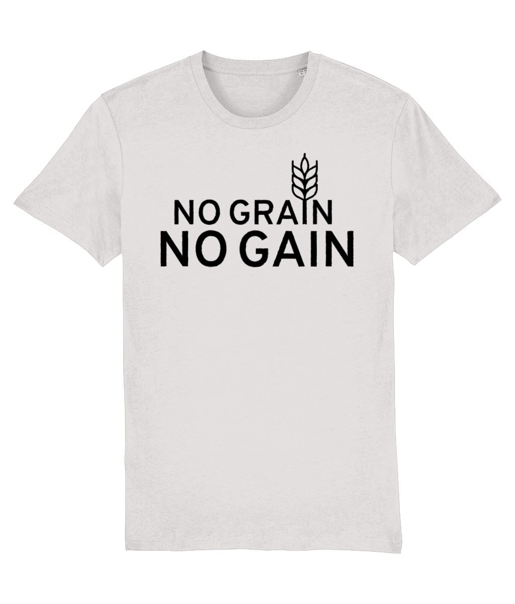 """No Grain, No Gain"" Vegan T-Shirt - 100% Organic Cotton (Unisex) Clothing Vegan Original Cream Heather Grey XX-Small"