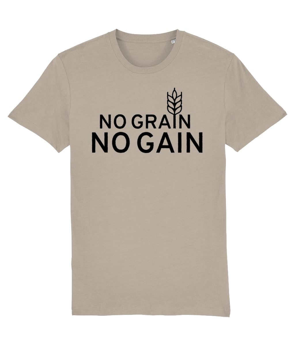 """No Grain, No Gain"" Vegan T-Shirt - 100% Organic Cotton (Unisex) Clothing Vegan Original Desert Dust X-Small"