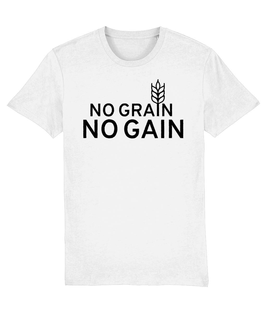 """No Grain, No Gain"" Vegan T-Shirt - 100% Organic Cotton (Unisex) Clothing Vegan Original White XX-Small"
