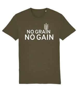 """No Grain, No Gain"" Vegan T-Shirt - 100% Organic Cotton (Unisex) - Dark Clothing Vegan Original British Khaki X-Small"