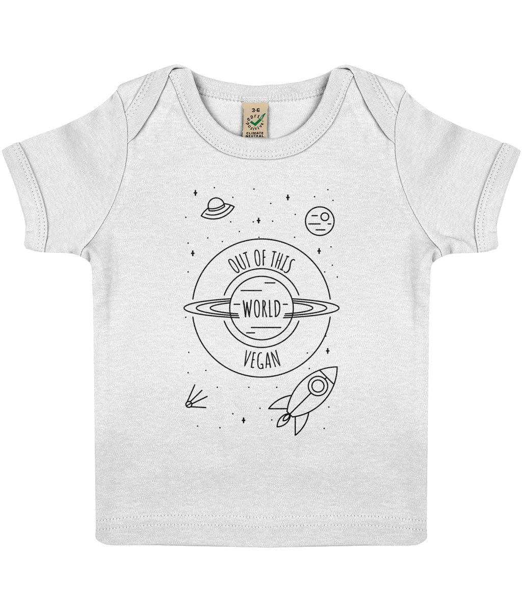 """Out Of This World Vegan"" Baby Lap T-Shirt Clothing Vegan Original 3-6 months White"