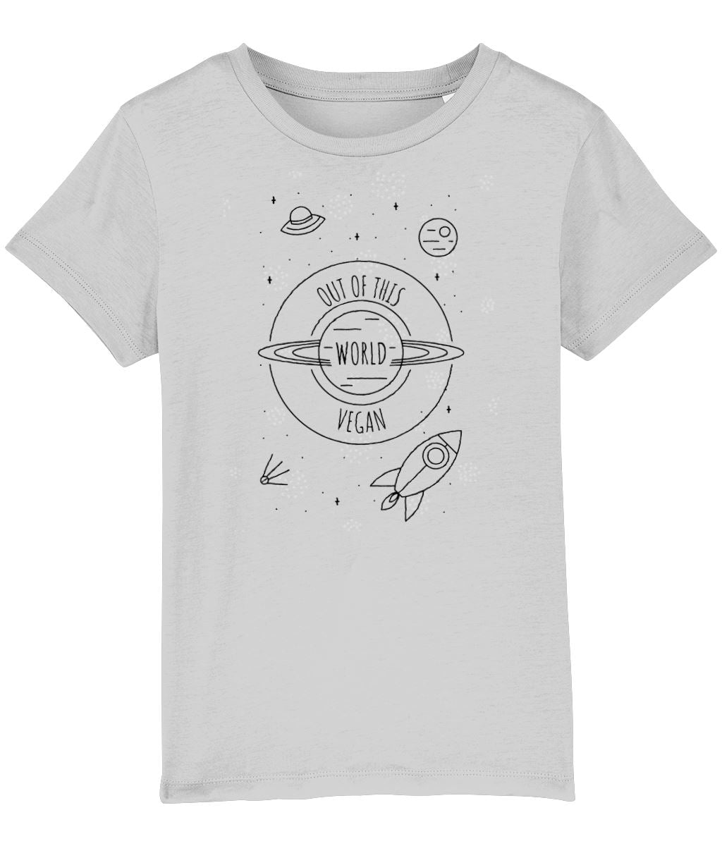 """Out Of This World Vegan"" Children's T-Shirt (Unisex) Clothing Vegan Original Heather Grey 3-4 years"
