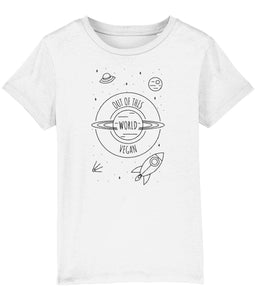 """Out Of This World Vegan"" Children's T-Shirt (Unisex) Clothing Vegan Original White 3-4 years"
