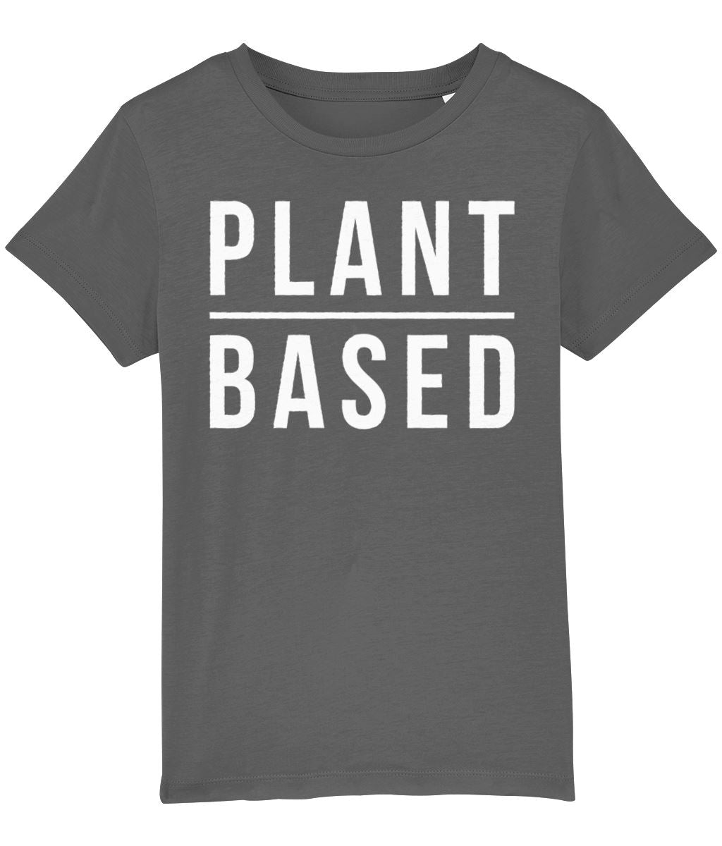 """Plant-Based"" Children's Vegan T-Shirt (Unisex) Clothing Vegan Original Anthracite 3-4 years"