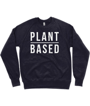 """Plant Based"" Vegan Sweatshirt - 100% Organic Cotton (Unisex) Clothing Vegan Original Navy Small"